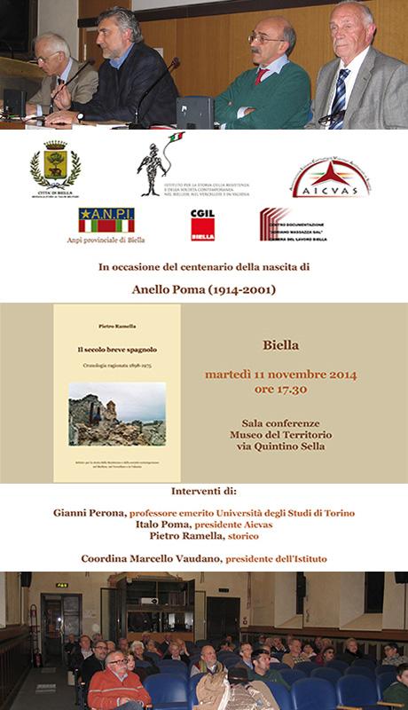 Nel centenario della nascita di Anello Poma presentazione del libro Il secolo breve spagnolo