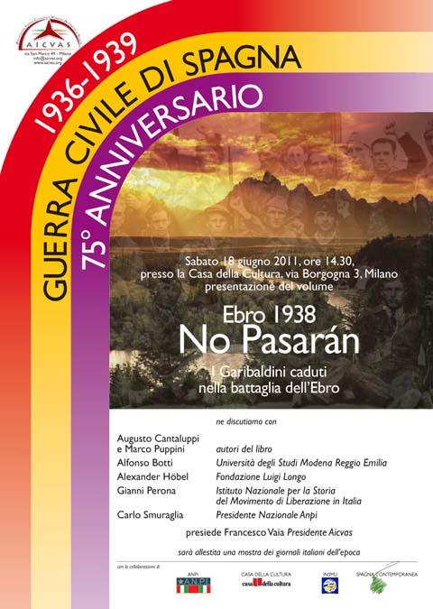 """Sabato 18 giugno alla Casa della Cultura - Milano presentazione del libro """"Ebro 1938 No Pasarán"""""""