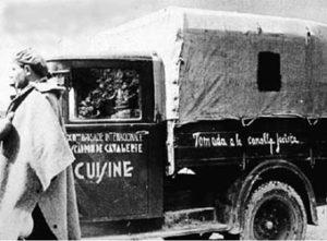 """Qui a destra, La camionetta della XII BI, sottratta alla """"canaglia fascista""""."""
