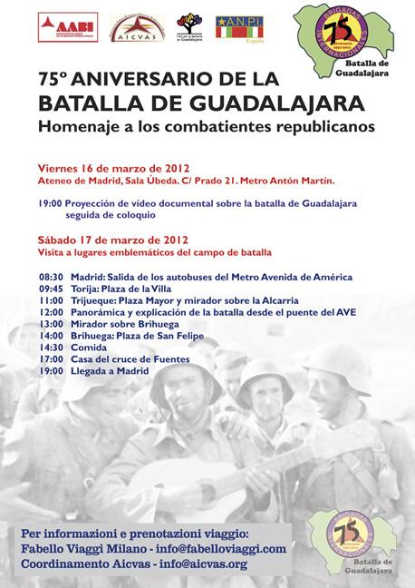 Week-end a Madrid per la marcia di Guadalajara.  Da venerdì 16 a domenica 18 marzo