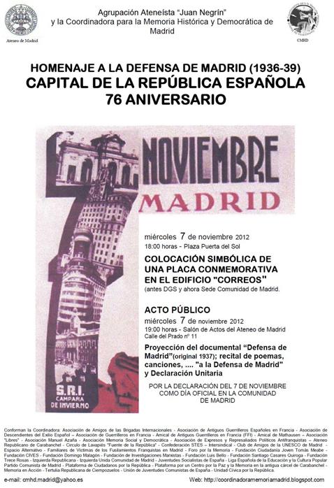 Commemorazione del 76° anniversario  della difesa di Madrid