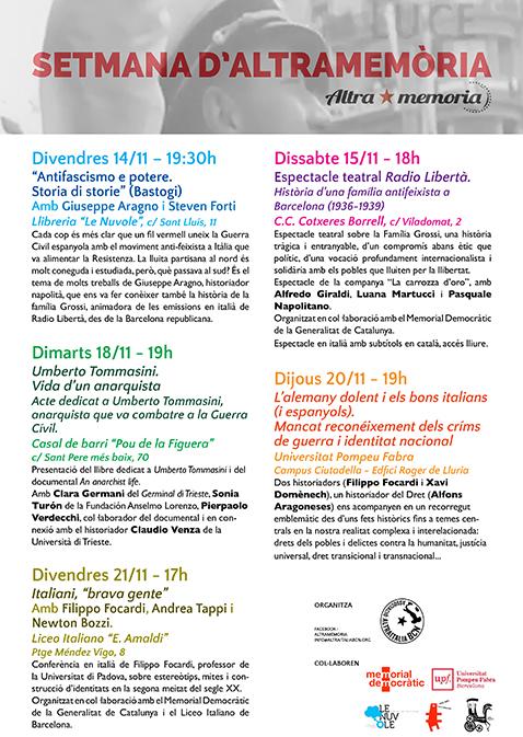 Settimana di iniziative a Barcellona sul contributo italiano alla difesa della repubblica