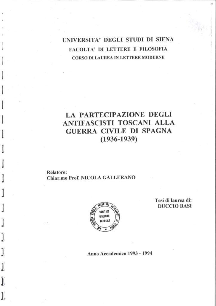 La partecipazione degli antifascisti toscani alla guerra civile di Spagna (1936-1939)