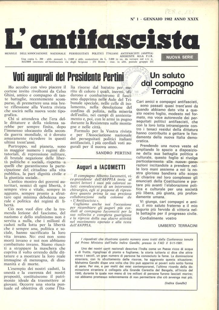 L'antifascista : mensile dell'Associazione nazionale perseguitati politici italiani antifascisti aderente alla FIR