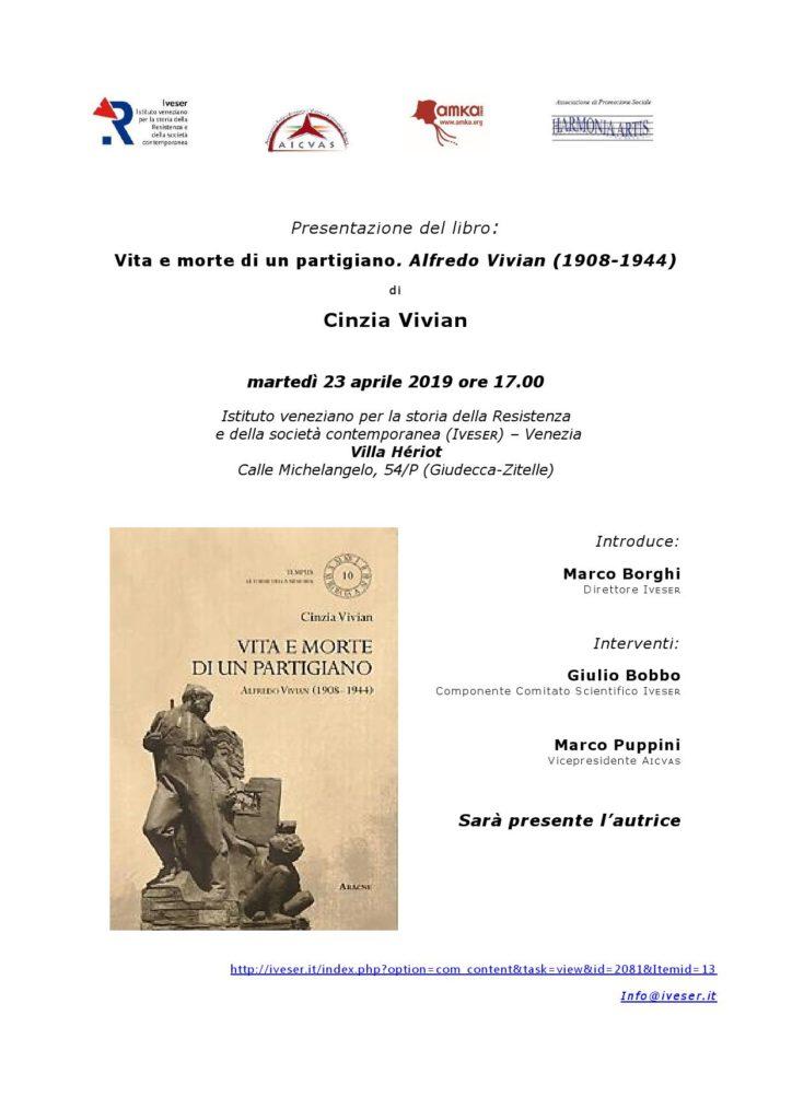 Presentazione libro 23 aprile a Venezia – Vita e morte di un partigiano. Alfredo Vivian (1908-1944)