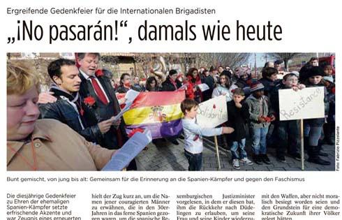 In Lussemburgo manifestazione in ricordo  dei combattenti in difesa della Repubblica Spagnola
