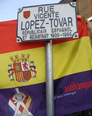 Inaugurata il 1° settembre a Tolosa  una via a Vincente Lopez Tovar
