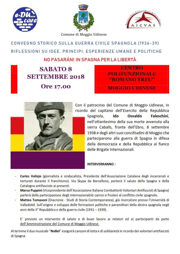 CONVEGNO STORICO SULLA GUERRA CIVILE SPAGNOLA (1936-39)a MOGGIO UDINESE SABATO 8 SETTEMBRE 2018 Ore 17.00