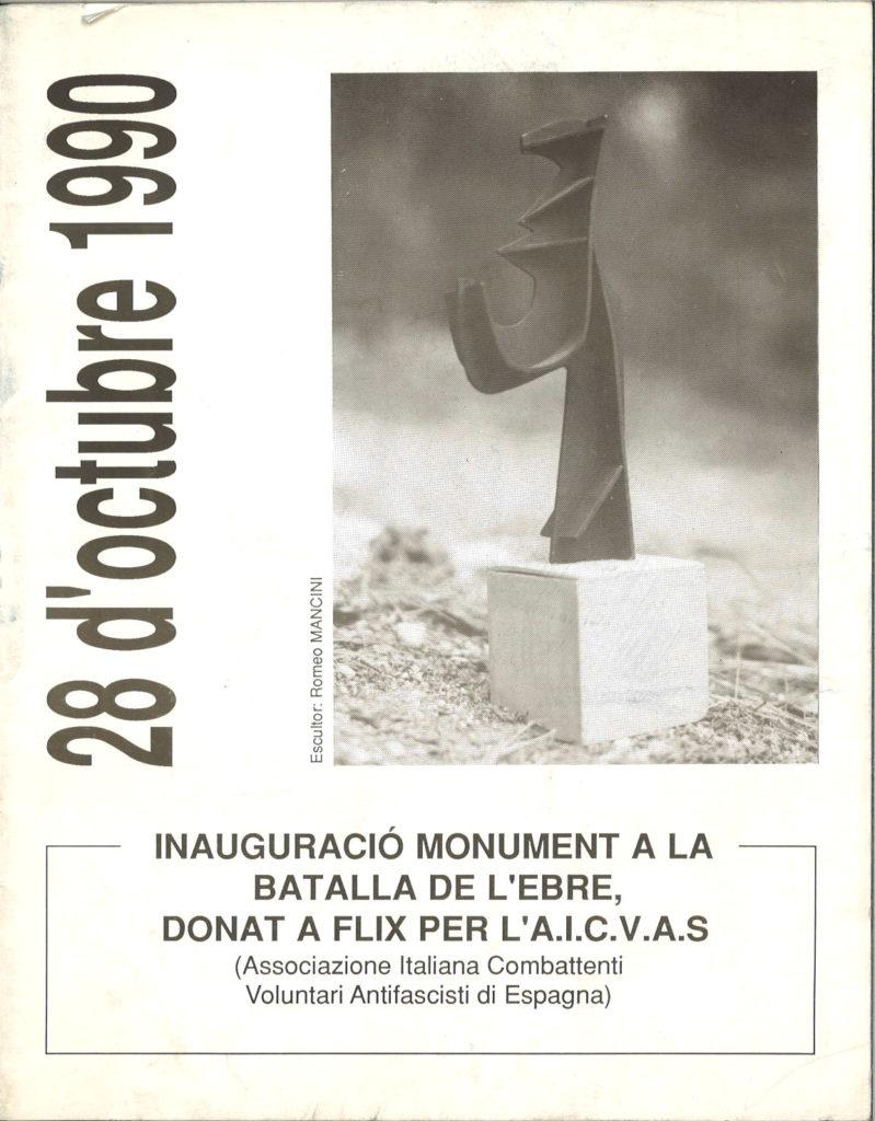 28 d'octubre 1990 : inauguracio monument a la batalla de l'Ebre, donat a Flix per l'AICVAS