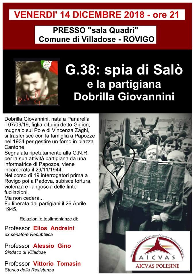 G.38: spia di Salò e la partigiana Dobrilla Giovannini