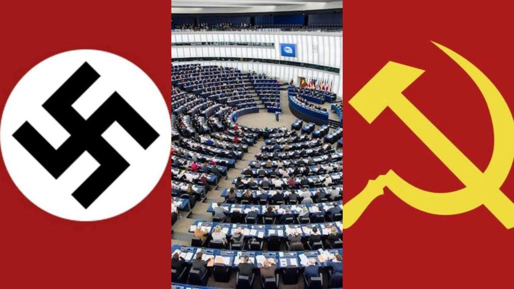 Manifesto contro la risoluzione del parlamento europeo che equipara nazismo e comunismo.