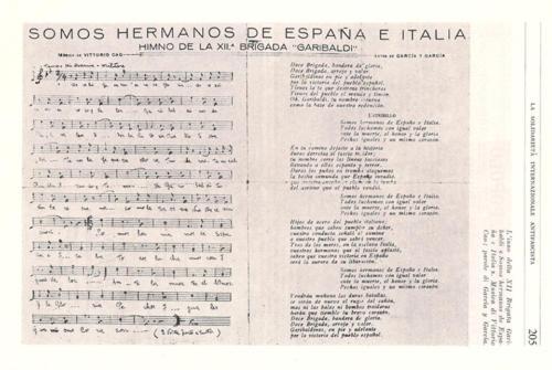 Somos hermanos de España e Italia. Himno de la XII Brigada Garibaldi.